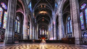 View of Grace Cathedral's interior from the labrynth up to the alter