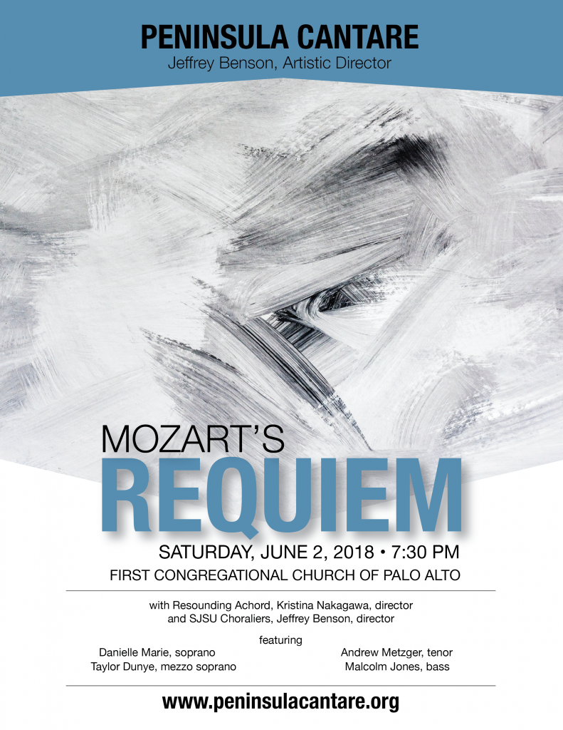 Poster for the Mozart Requiem concert on June 2 by the Peninsula Cantare